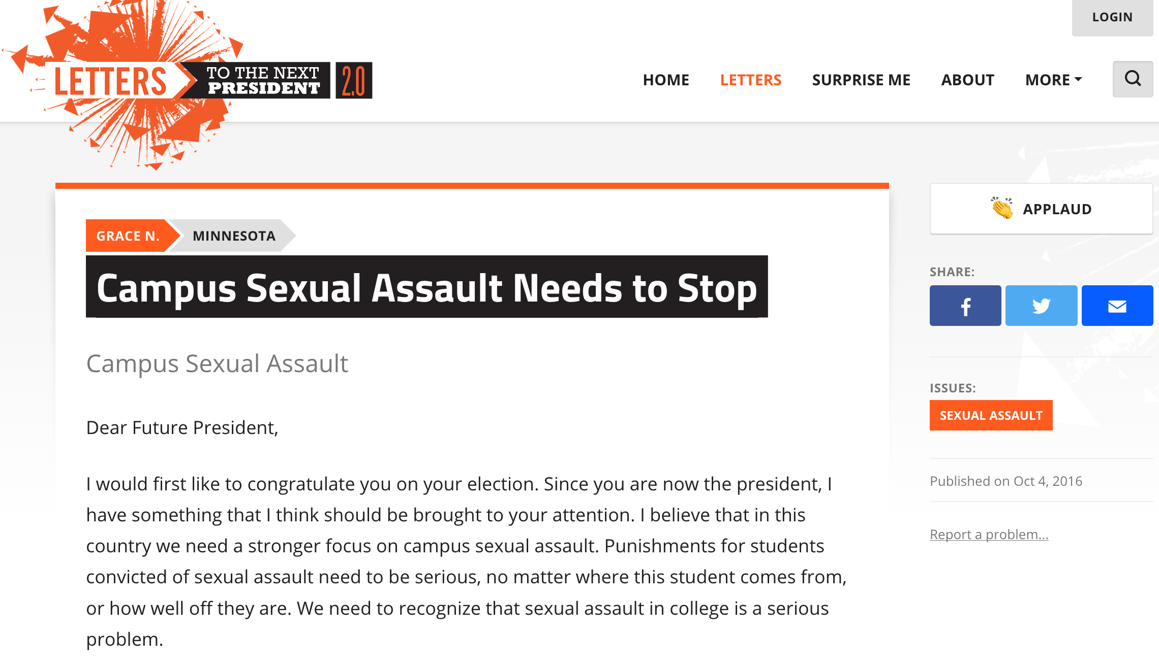 Campus Sexual Assault Needs to Stop L2P 2.0